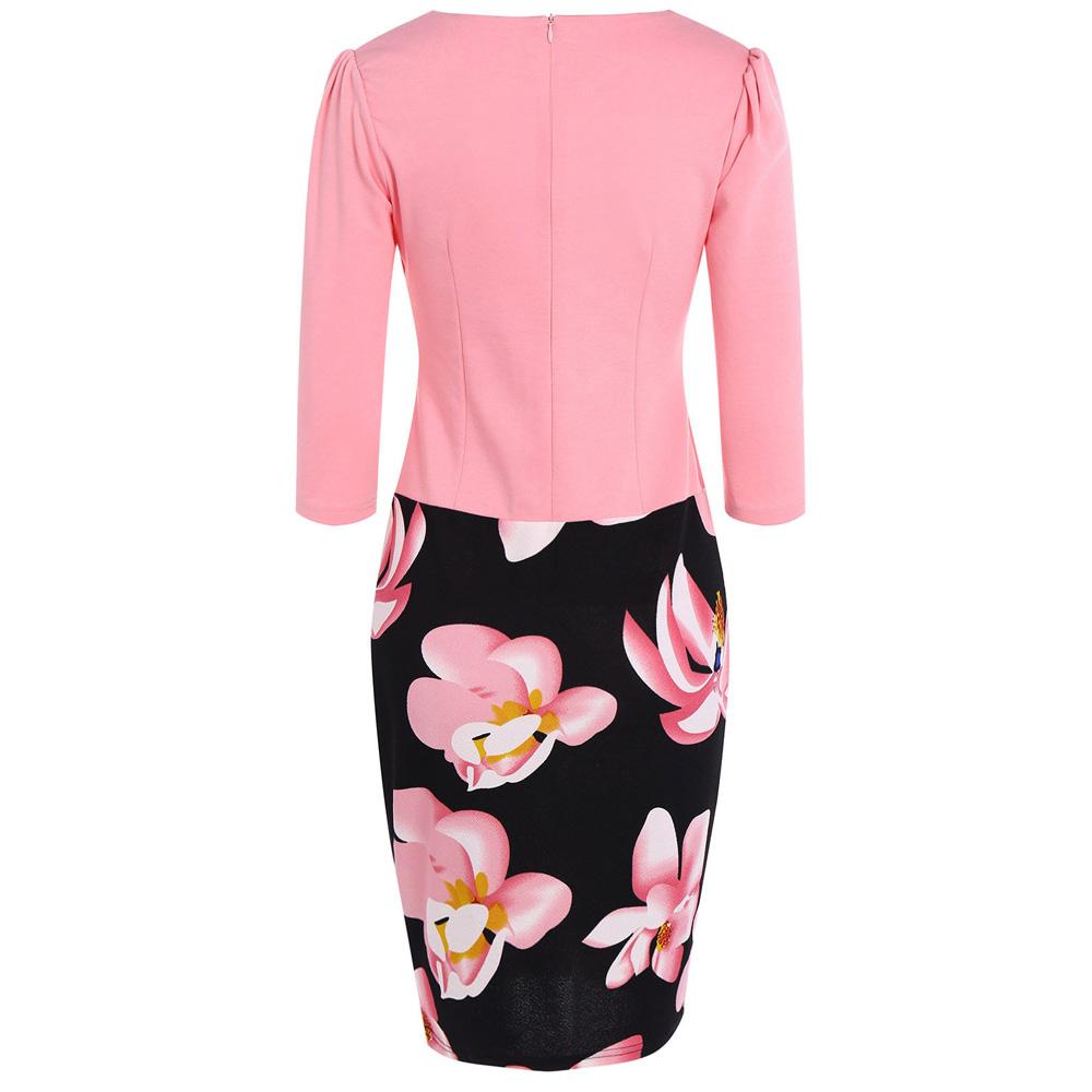 VESTLINDA Pencil Office Dress 5 Colors Plus Size Jacket Look Floral Print Women Vestidos Mujer Jurken Robe Slim Bodycon Dresses 27