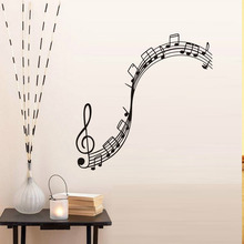 Musical Notation Vinyl Wall Stickers Decals Children Music Note Wallpaper Mural Girls Boys Kids Home Bedroom Nursery Decor(China)