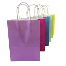 1 Pcs/lot Festival Gift Kraft Paper Bag Shopping Bags DIY Multifunction Candy Color Paper Bag With Handles 21x15x8cm(China)