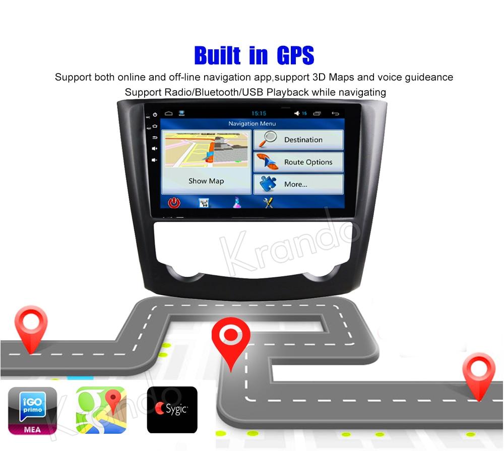 Krando Android car radio gps navigation multimedia system for Renault Kadjar 2015