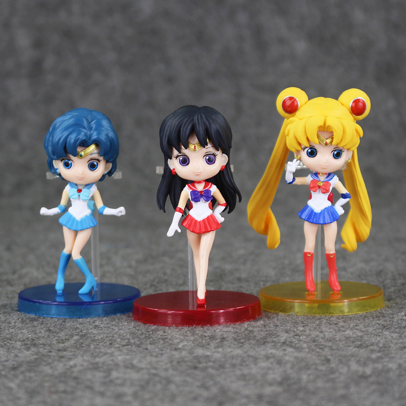 3Pcs/Lot Sailor Moon Action Figures Tsukino Usagi  Hino Rei Mizuno Ami PVC Mode Figure Toys For Kids Presents Free Shipping<br><br>Aliexpress