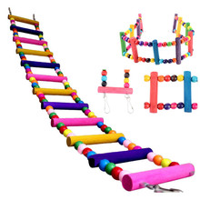 Bird toys parrot Ladder Climbwood parrot toy Macaw Swing Shelf Parrot Bites Play brinquedo 27~70CM parkiet vogel speelgoed &EY11