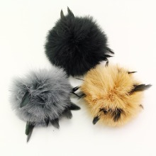 Colorful Fur Ball Fur Pom Poms DIY Women Winter Hat And Cap Corsage Fur Turkey feather Accessories Apparel & Accessories(China)