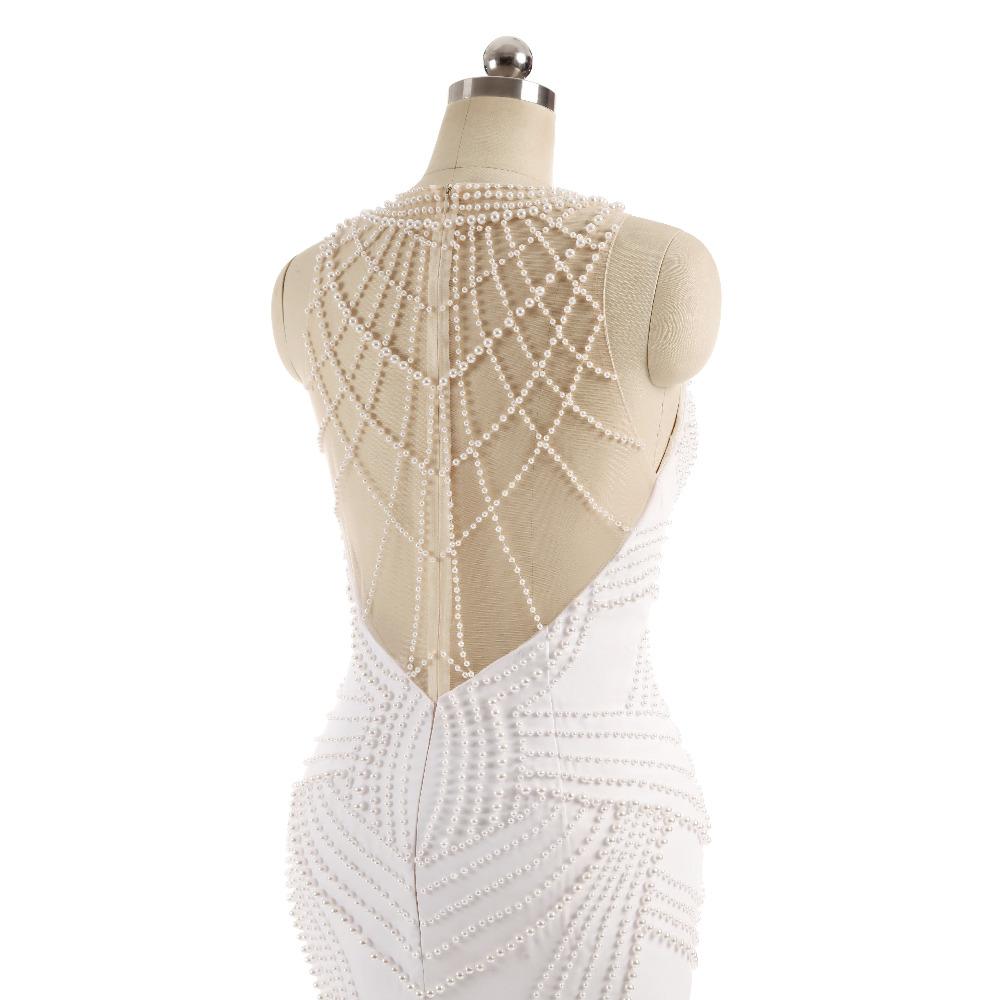 Lover Kiss Vestido De Noiva Sheer Neck Sexy Wedding Dress Pearls Mermaid Sleeveless Wedding Dresses Wedding Dress 7