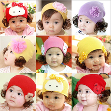 2015 New Baby Cotton Warm Flowers Ear Cap Infant Children's Cartoon Baby Pullover Wig Hat Freeshipping