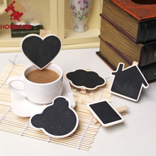 10Pcs/Lot DIY Mini Message Blackboard With Clip Square Wooden Blackboard Wedding Decoration Christmas Party Wedding Decor