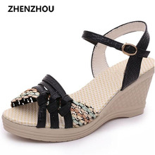Free shipping Women's shoes 2017 summer women's wedges sandals platform shoes platform straw braid color block high-heeled shoes(China)