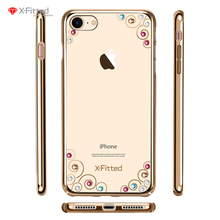 Rhinestone Case Cover For Apple Iphone 7 7 plus 4 color crystals grace luxury phone case with brand Swarovski rhinestone studded(China)