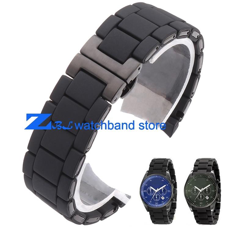 Rubber watchband silicone wristband bracelet black steel black silica gel for AR5921 AR5922 man 23mm woman 20mm watch strap band<br>
