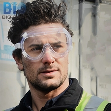 [Bio safe] Work Safety Goggles Wind Protective Vintage Glass Transparent Dust Eye Protection Safety Goggles(China)