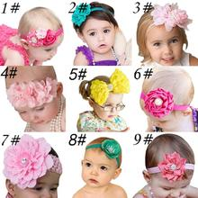 9pcs baby girl hairband cloth Children flower elastic Hair Band 9 different colours 0-2 Y girl fashion wear jewelery accessories