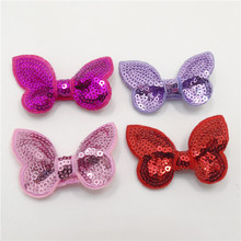 20pcs/lot Shinny Sequin Butterfly Hair Clip Pink Red Rose Purple Animal Hairpin Flying Hair Barrette Novelty Cartoon Hair Grip
