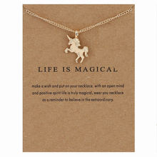 XUSHUI  Life Is Magical Unicorn Gold Pendant Collier Necklaces & Pendants Women Fashion Statement Chain Necklace Jewelry