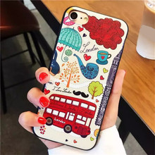 Cover For iPhone 6 Plus 3D Relief Cartoon deer Fashion Bus Silicone Cover Case For Apple iPhone 6S plus protection phonse Capa