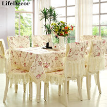 Tablecloth dining table cloth table linen cushion chair covers rustic fabric table cloth back cover(China)