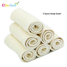 Elinfant 10pcs 3 layers hemp diaper insert reusable supre soft baby nappy insert 35x14cm for cloth diaper&covers(China)