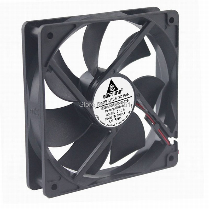 5pcs/lot Gdstime High Speed 2Pin 12025 12V DC Ventilation 120mm 120x25mm Cooling Fan
