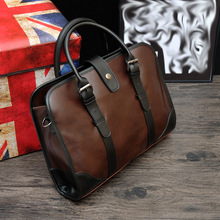 Crazy Horse male bag 2016 new winter Business Men Retro Shoulder Handbag briefcase factory direct