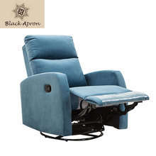 European Style Living Room Chairs Blue Single Rotating Sofa Chairs For Living Room Linen Cloth Material 28D(China)
