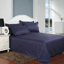 1pcs Dark Blue Solid Color Satin Stripes Bed Sheet Bed Linen Hotel Home Cotton Flat Sheet Twin/Full/Queen Size Roupa De Cama
