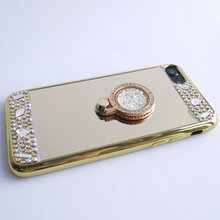 For Samsung J5 2016 Case J510 Mirror Panel Bling Colorful Diamond Glitter Finger Ring Lady Cover Hand Drop Proof Hot Sale