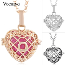 Vocheng Angel Bola Cage Prayer Box 3 Colors Heart Maternity Necklace with Stainless Steel Chain VA-195 Free Shipping