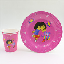20pcs/lot Dora exploration disposable kids girls birthday party set decorations paper plates +paper cups/glass party supplies
