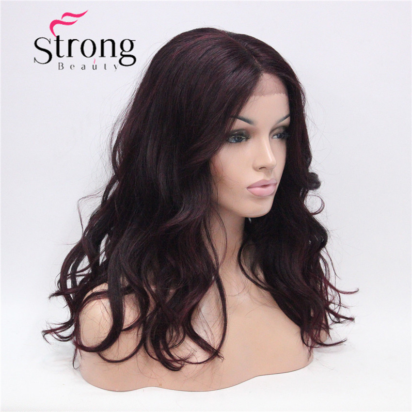 HHG-9126 #T1B-99T Lace Front Wig Quality Heat Ok Synthetic Off Black Mix Deep Purple Wavy Long Wig (2)