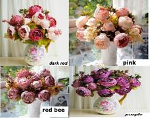 8 Heads 1 Boutique Silk Artificial Peony Rose Flowers Home Decoration Festival Party Flower Wedding Gift FLOWER-2301173(China)