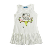 New Summer White Baby Kids Infant Girls Vest Clothing Casual Fringe Tassel Dress Deer Sundress Sleeveless Children Outfits