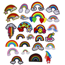 Free Shipping 10 pcs Rainbow Embroidered iron on Motif Applique garment hat bag shoe decor embroidery patches DIY accessories(China)