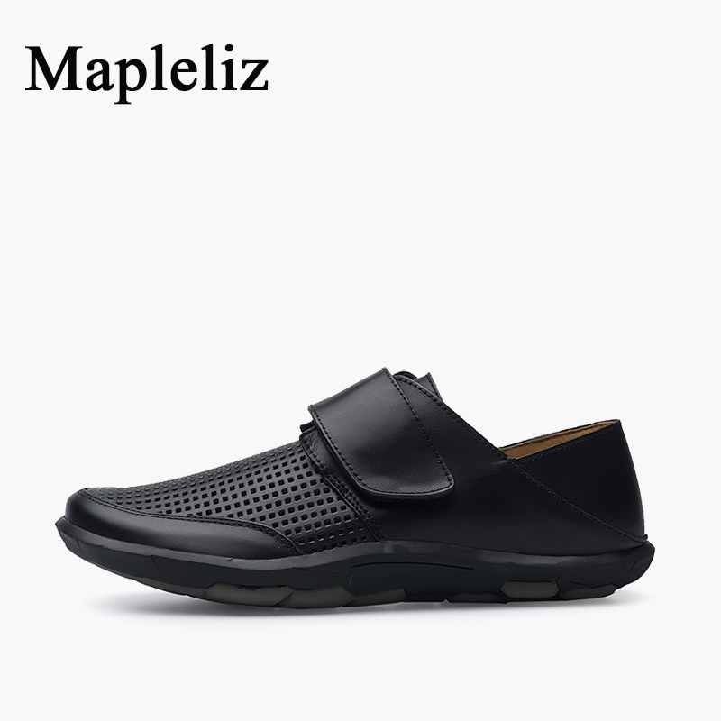 Mapleliz Brand Hook &amp; Loop Men Summer Shoes Genuine Cow Leather Breathable Black Male Loafers Leisure Big Size Casual Shoes Men<br>