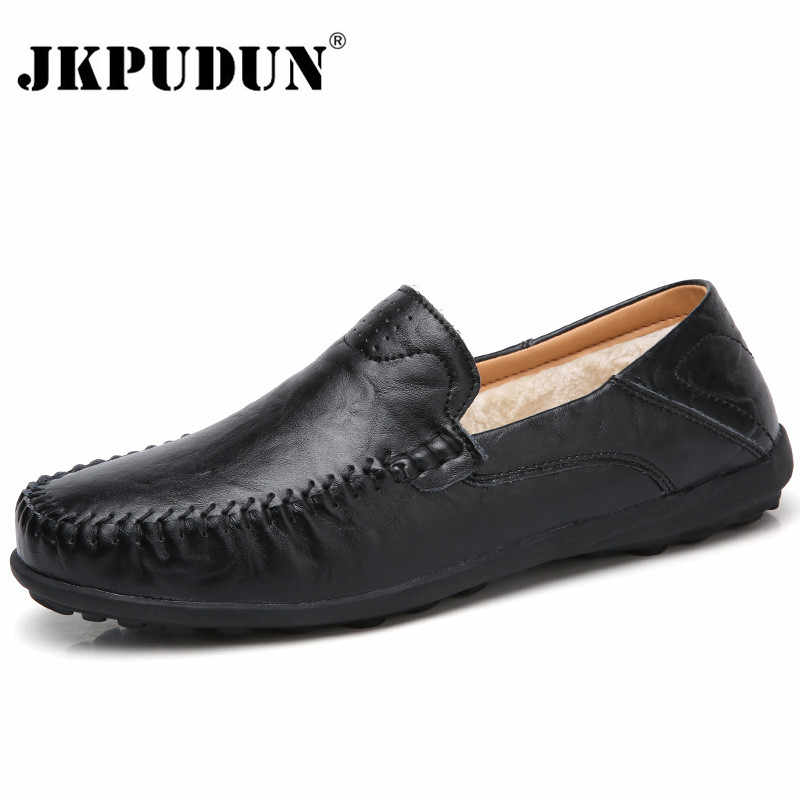 JKPUDUN Men Shoes Casual Luxury Brand Italian Mens Loafers Genuine Leather  Winter Fur Moccasins Breathable Slip 2850311ce26