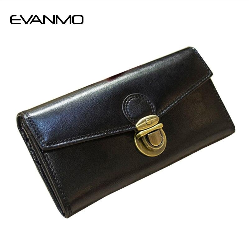 Luxury Lady Purse Genuine Leather Wallet Women Top Grade Metal Hasp Lock Luxury Design Female Cards Holder Famous Brand Wallets<br>