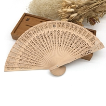 New Hot Chinese Japanese Vintage Fancy Folding Fan Wood Hollow Carved Pocket Folding Fan Home Decoration Crafts Craft Supplies