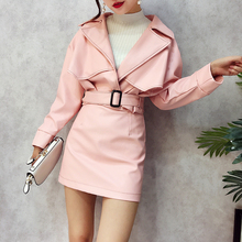 Fall Women Pu Leather 2 Pcs Set 2017 Short Sleeved Lapel Leather Coat Jacket + High Waist Package Hip Skirt Suits Office Wear(China)