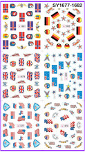 6 PACK/ LOT  GLITTER WATER DECAL NAIL ART NAIL STICKER NATIONAL FLAG SY1677-1682