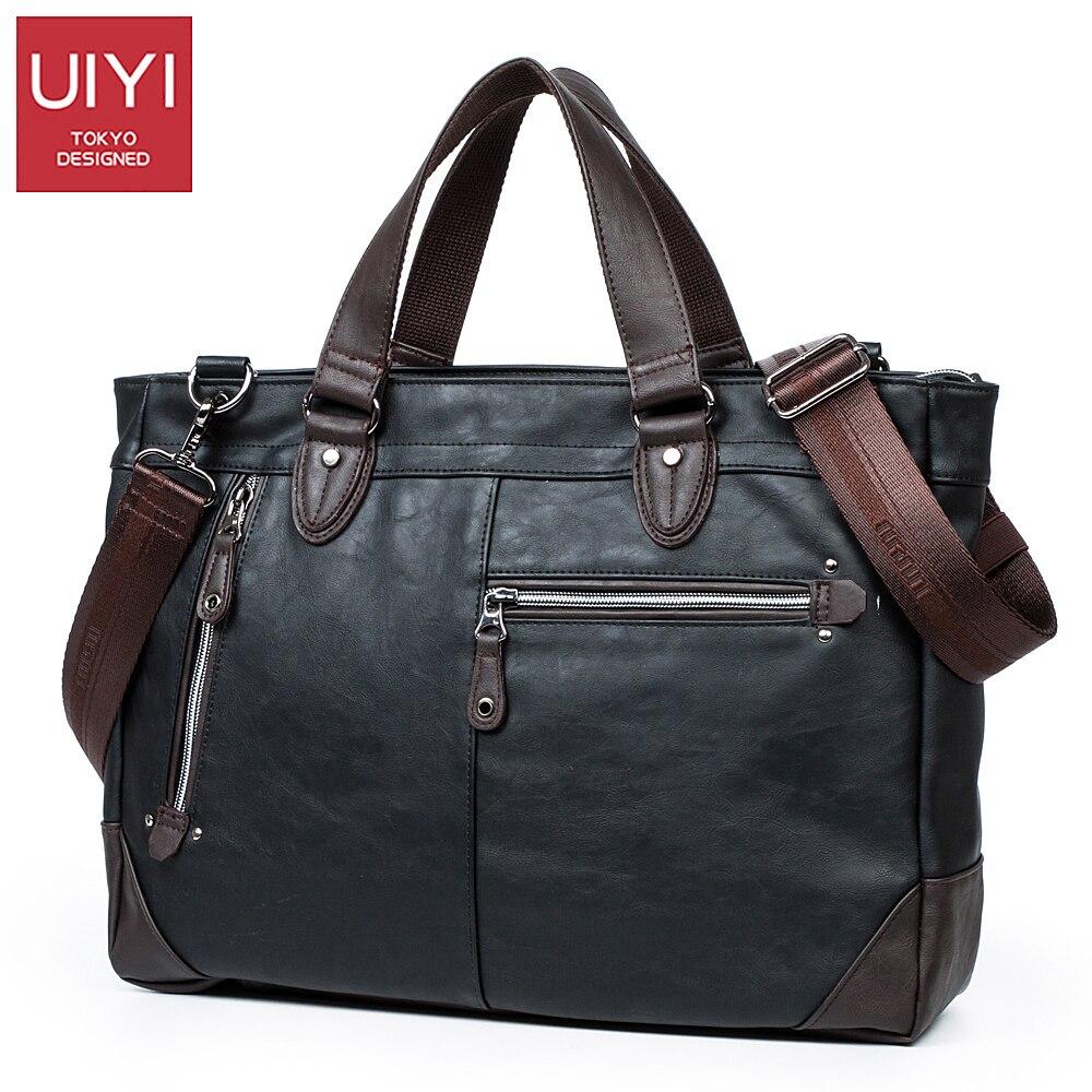 UIYI Mens handbags PU leather Black Totes Bag Laptop male crossbody bags Removable shoulder strap travel shoulder bag #UYD16019<br>