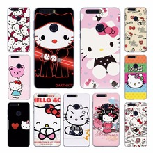 lovely Hello Kitty design transparent hard case cove for Huawei Honor 4 4C 4X 5 5C 5X 6 6Plus 7 8 V8 Ascend G7 G8