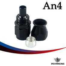 PQY RACING- Black High Quality PTEF AN4 AN-4 Straight REUSABLE SWIVEL TEFLON HOSE END FITTING AN4 PQY-SL6000-04-021