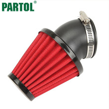 Partol Red Motorcycle Air Filter 35mm 42mm 48mm Cleaner Clamp-on 45 Degree Bend Air Intake Filters For Kawasaki Honda Suzuki(China)