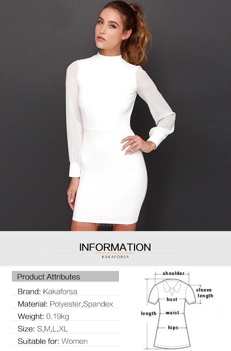 Kakaforsa Women Sexy Backless White Dress Casual Plus Size Slim Fit Bodycon Short Dress Long Sleeve O-Neck Mini Party Dresses 10