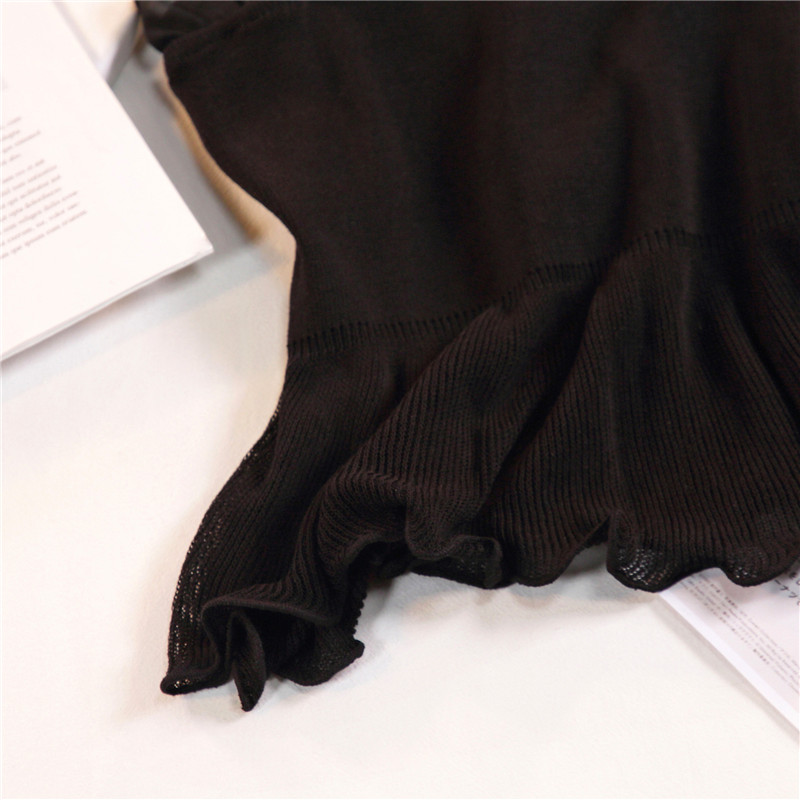 Women Fashion Knitting Patchwork Chiffon Ruffles Neck Cropped Tanks Tops Girls Knitted Tee shirts Camis crop Tops Female 24