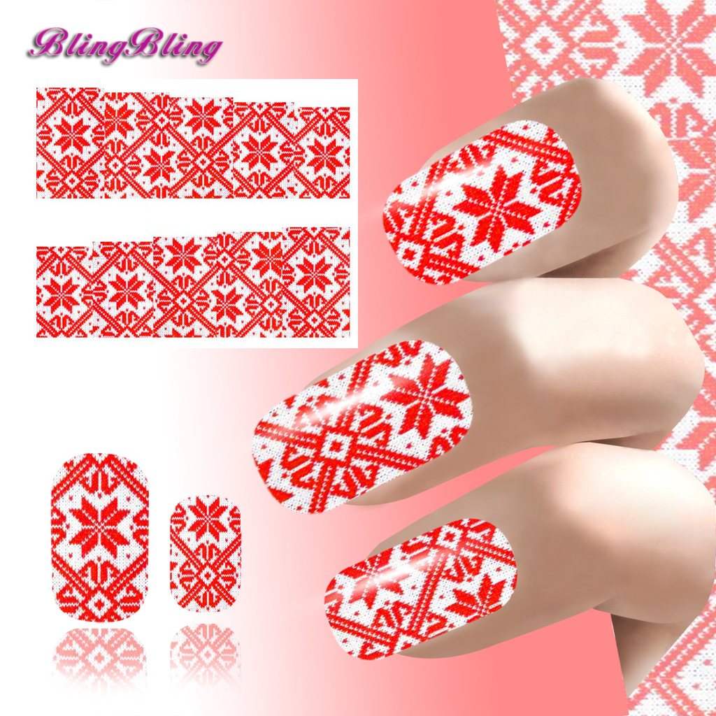 Xmas Nail Art Sticker Water Decals Pretty Girl Nail Wraps Decorations Classic Red Color Snowflake Winter Knit Pattern For Nails<br><br>Aliexpress
