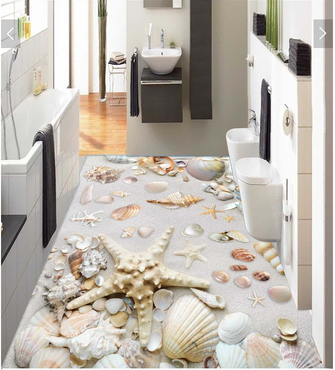 3d pvc flooring custom photo Waterproof floor sticker Sea shells world 3d wall murals wallpaper bedroom decoration painting<br>
