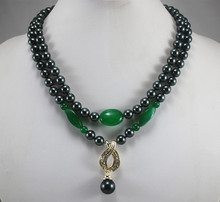 factory price wholesales/retail 2 rows  8mm black shell pearl mixed green jades  necklace+14mm black pearl  pendant