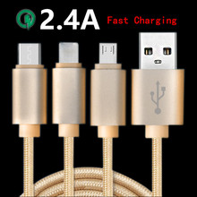 2.4A Original 3 in 1 Type-C USB 3.1 + 8 Pin + Micro USB Fast Charge Cable For iPhone 5S 6S Plus Samsung S6 Nexus 5X/6P OnePlus 2