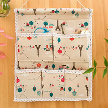 1 pc unique 45*35 cm 5 Pockets Hanging Storage Bag Door Wall Mounted Home Sundries Clothing Jewelry Closet Organizer Bags