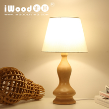 Nordic American country fashion creative minimalist style wood table lamp creative study lamp bedroom hotel bedside lamp beech(China)