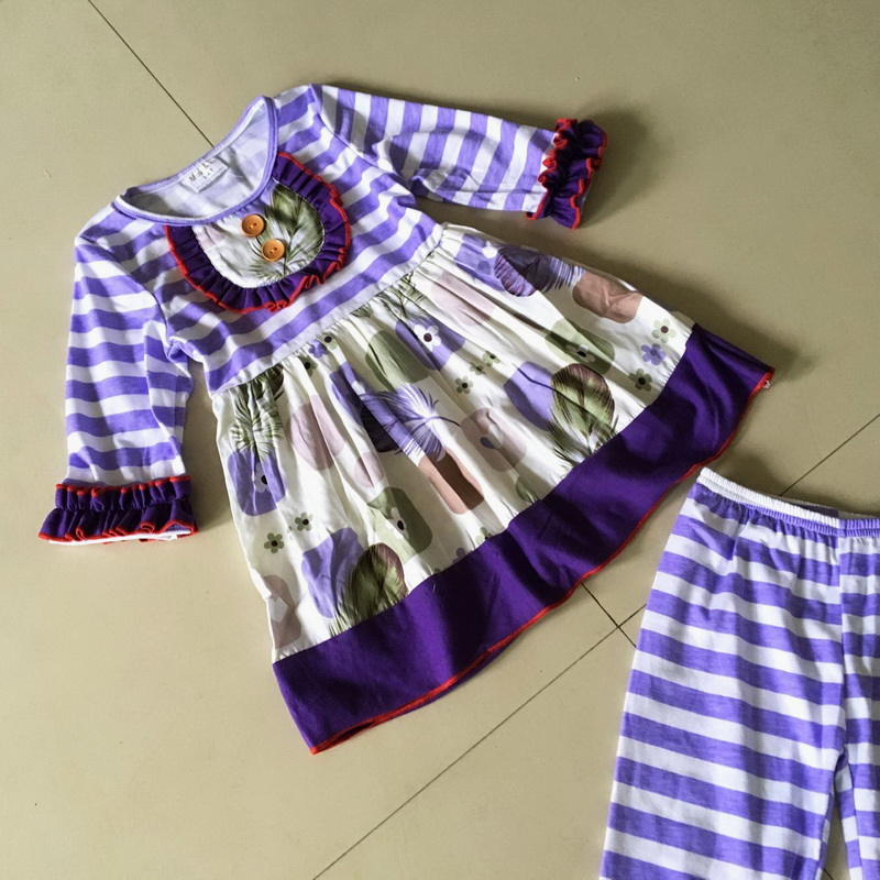 100%cotton Summer and Fall Wide stripe cloth Flower print 3/4 sleeve style of Baby Girls Dress Apparel Accessory for present<br>